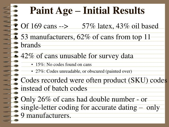 Paint Age – Initial Results