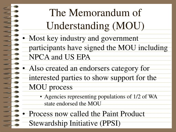 The Memorandum of Understanding (MOU)