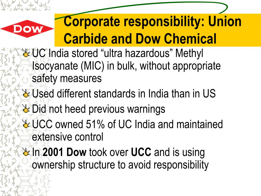Corporate responsibility: Union Carbide and Dow Chemical