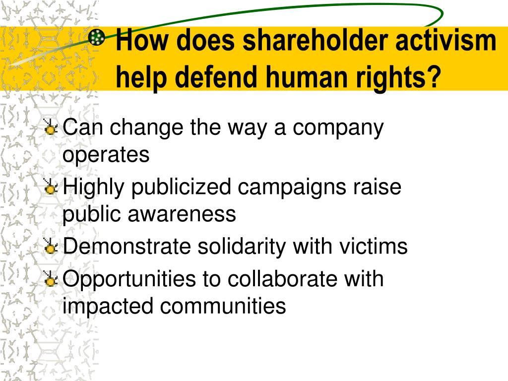 How does shareholder activism help defend human rights?
