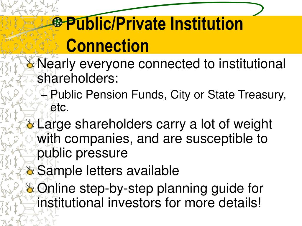 Public/Private Institution	Connection