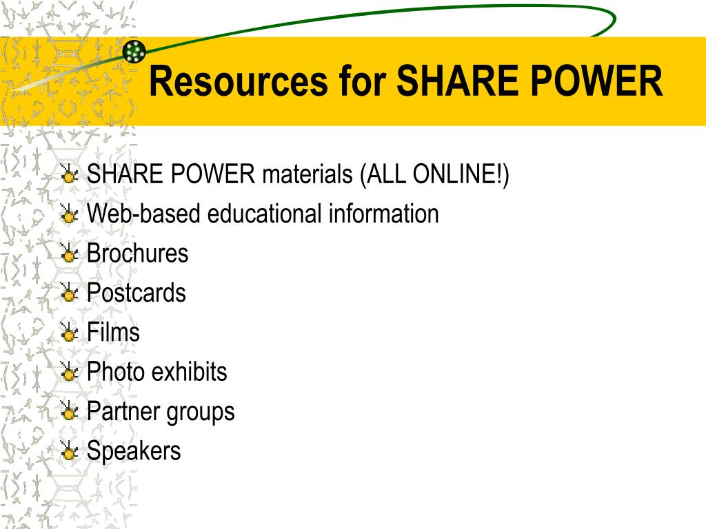 Resources for SHARE POWER