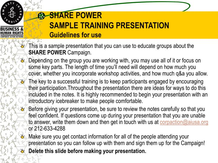 Share power sample training presentation guidelines for use