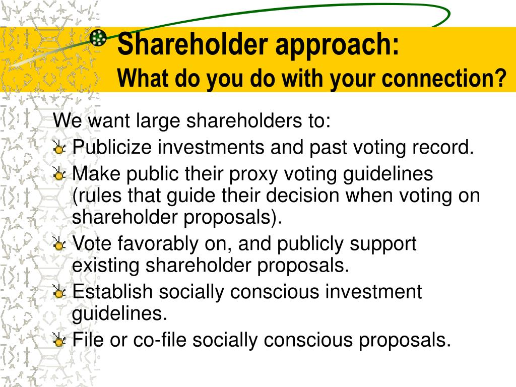 Shareholder approach: