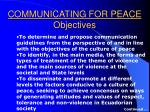 communicating for peace objectives