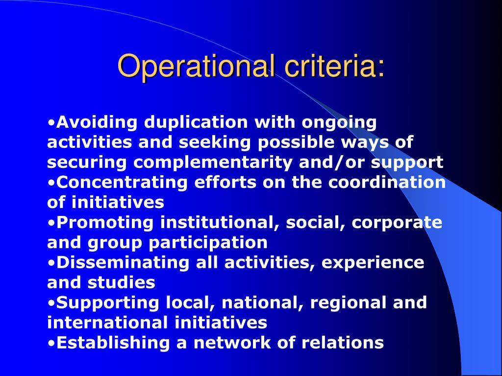 Operational criteria: