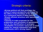 strategic criteria
