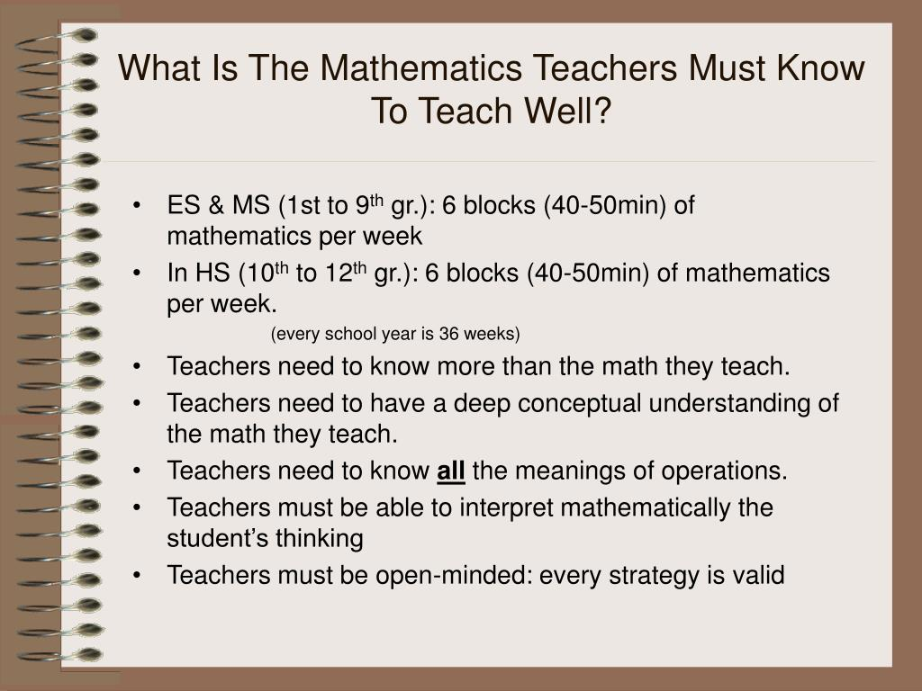What Is The Mathematics Teachers Must Know To Teach Well?