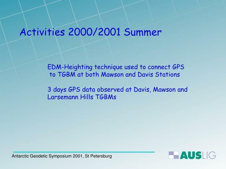 Activities 2000/2001 Summer