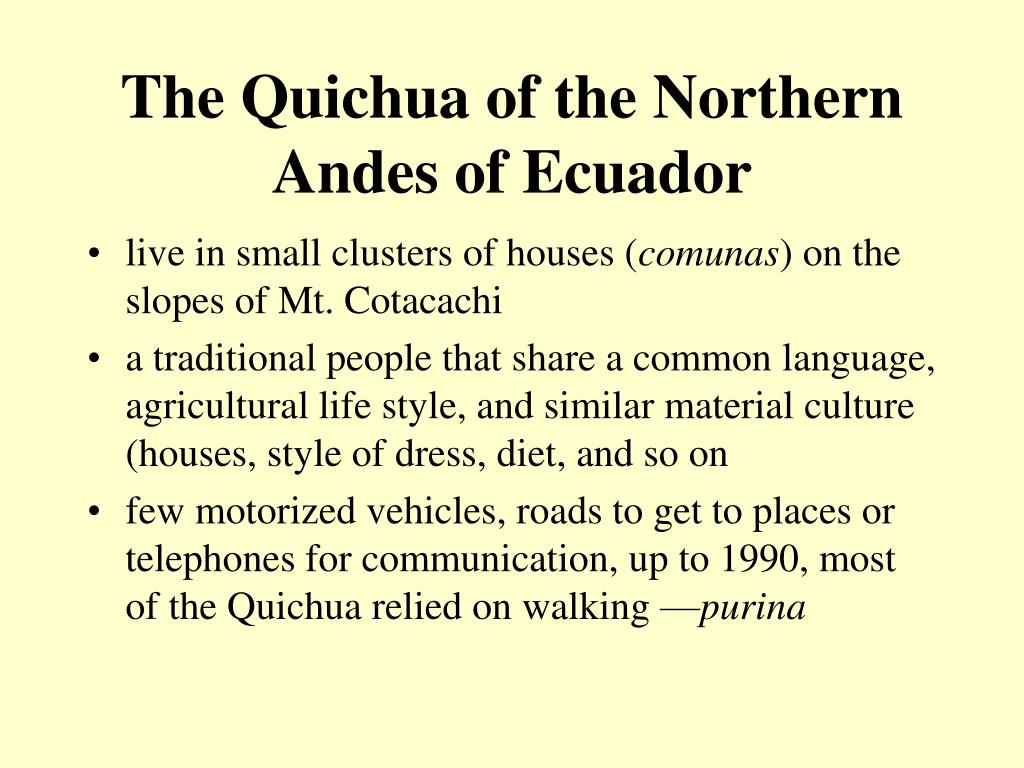 The Quichua of the Northern Andes of Ecuador