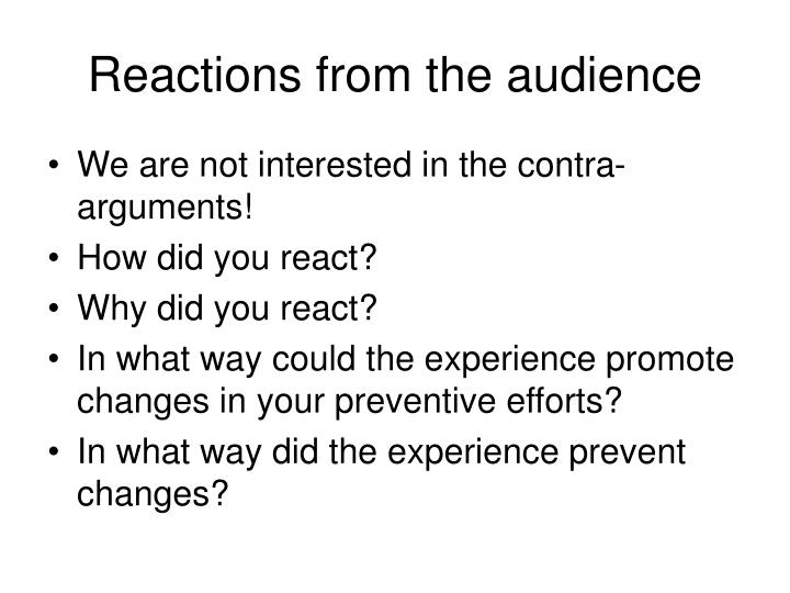 Reactions from the audience