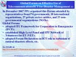 global forum on effective use of telecommunications ict for disaster management 1