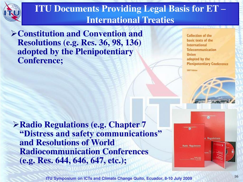 ITU Documents Providing Legal Basis for ET – International Treaties
