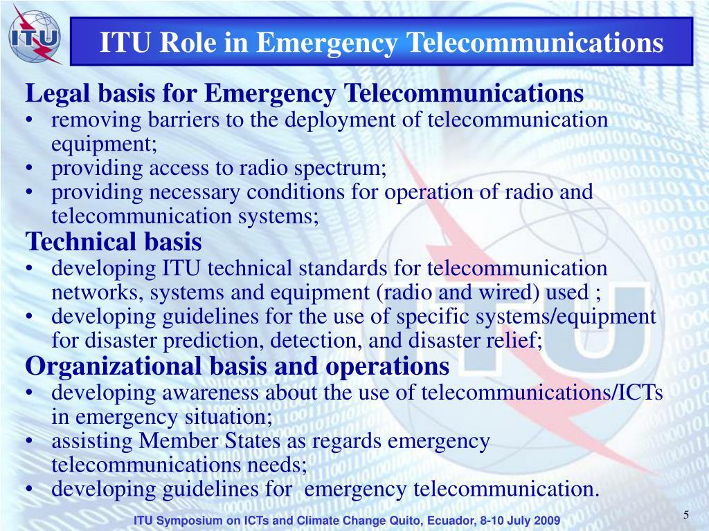 ITU Role in Emergency Telecommunications