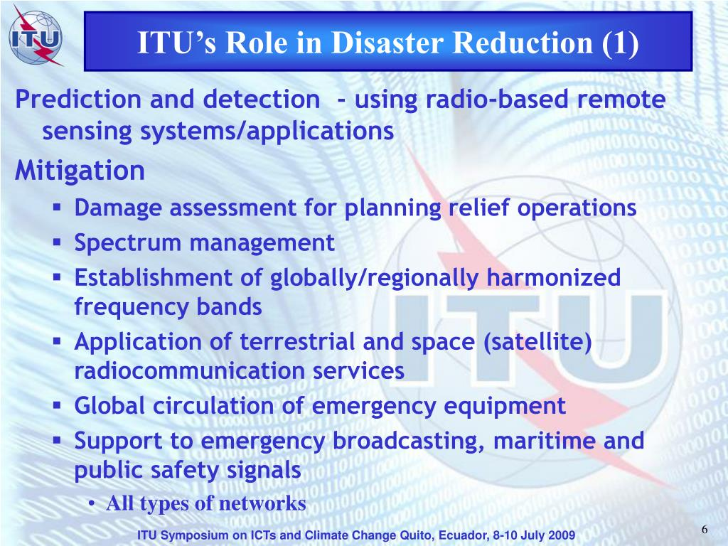 ITU's Role in Disaster Reduction (1)