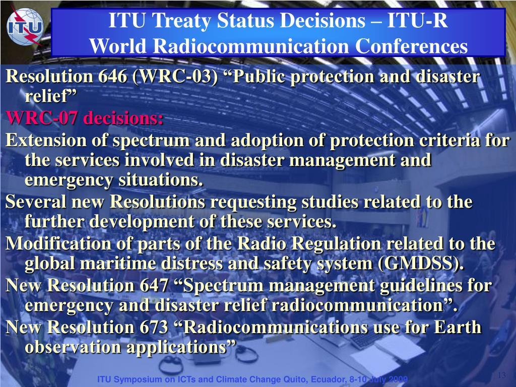 ITU Treaty Status Decisions – ITU-R