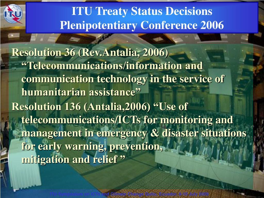 ITU Treaty Status Decisions
