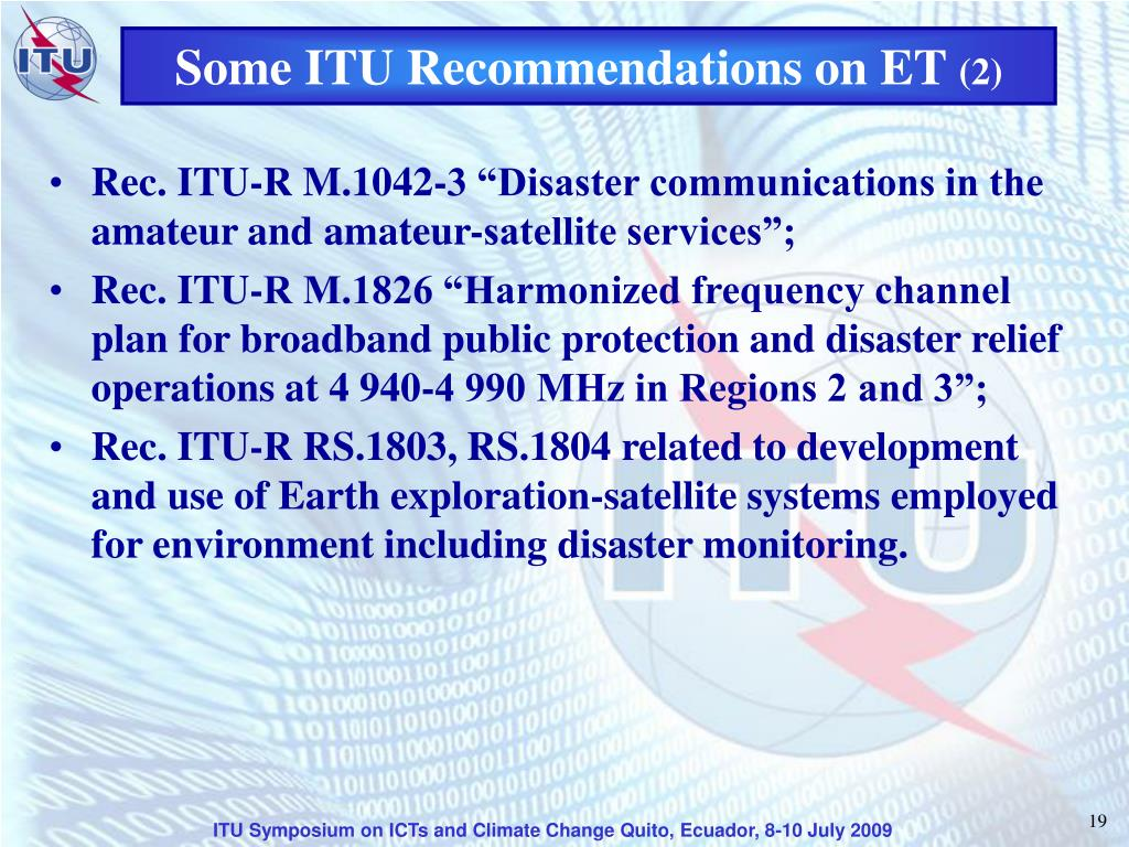 Some ITU Recommendations on ET