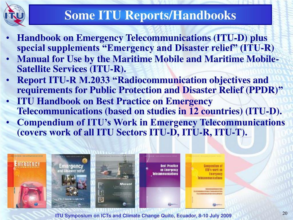 Some ITU Reports/Handbooks