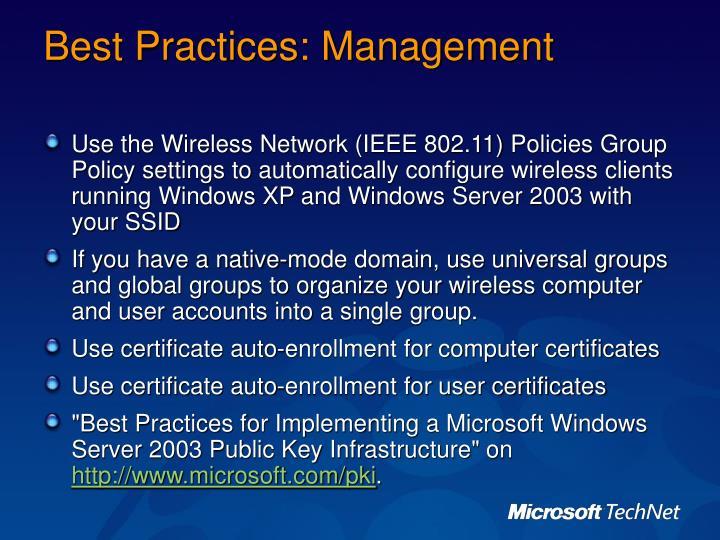 Best Practices: Management