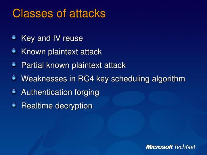 Classes of attacks