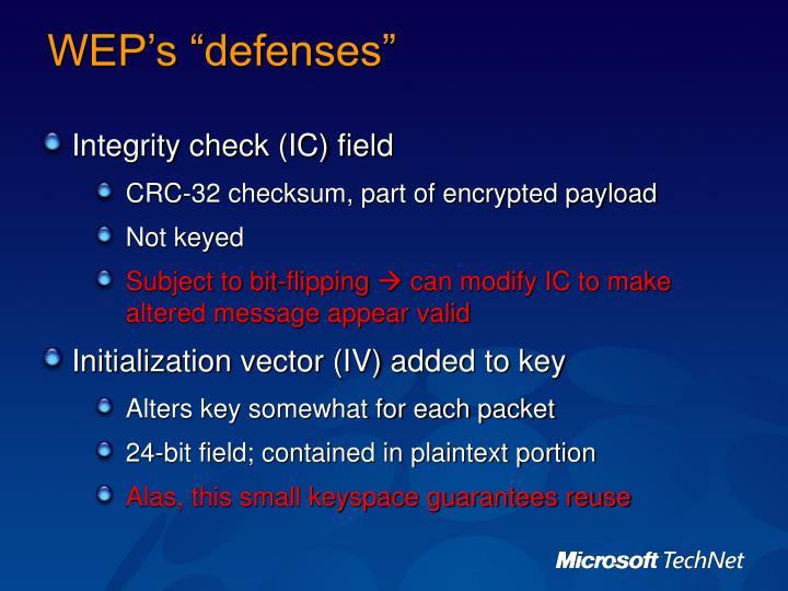 """WEP's """"defenses"""""""