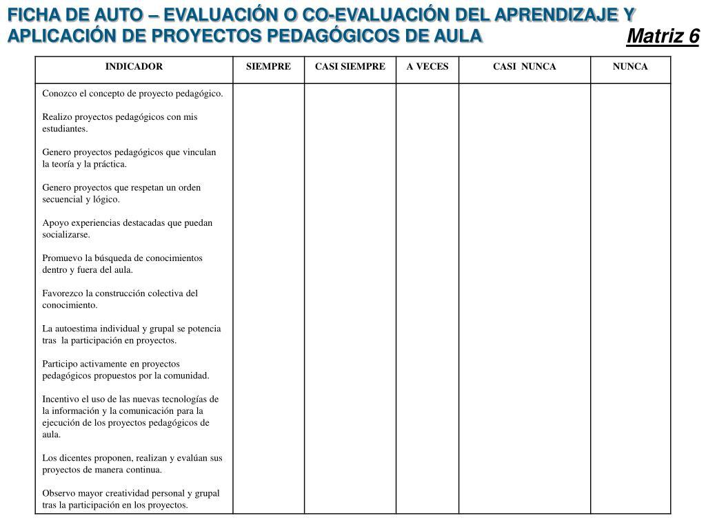 FICHA DE AUTO – EVALUACIÓN O CO-EVALUACIÓN DEL APRENDIZAJE Y APLICACIÓN DE PROYECTOS PEDAGÓGICOS DE AULA