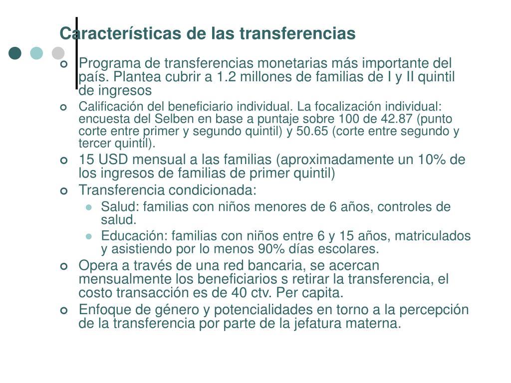 Características de las transferencias