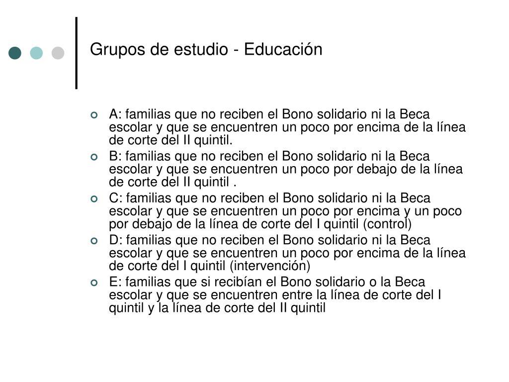Grupos de estudio - Educación