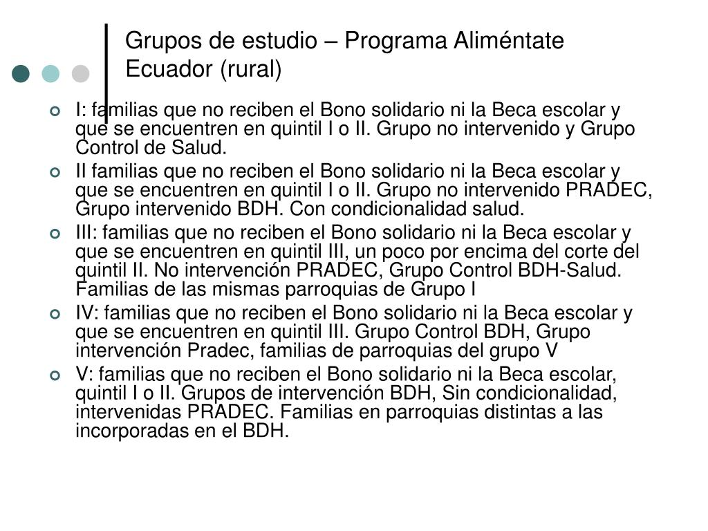 Grupos de estudio – Programa Aliméntate Ecuador (rural)