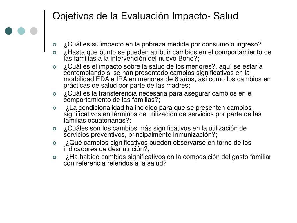 Objetivos de la Evaluación Impacto- Salud