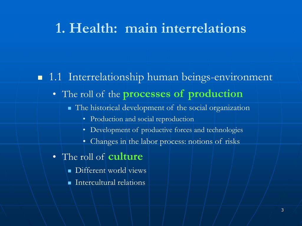 1. Health:  main interrelations