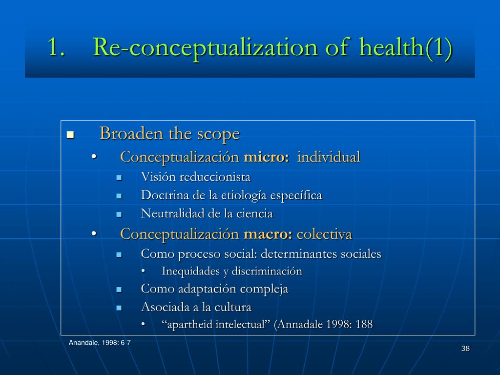 Re-conceptualization of health(1)