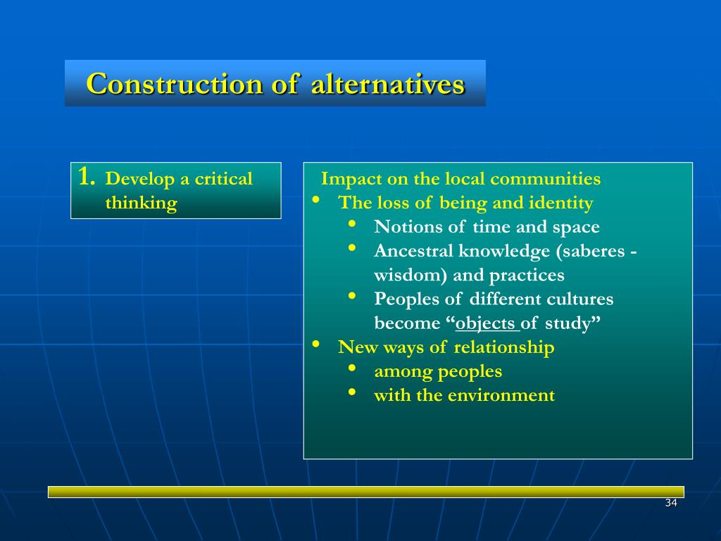 Construction of alternatives