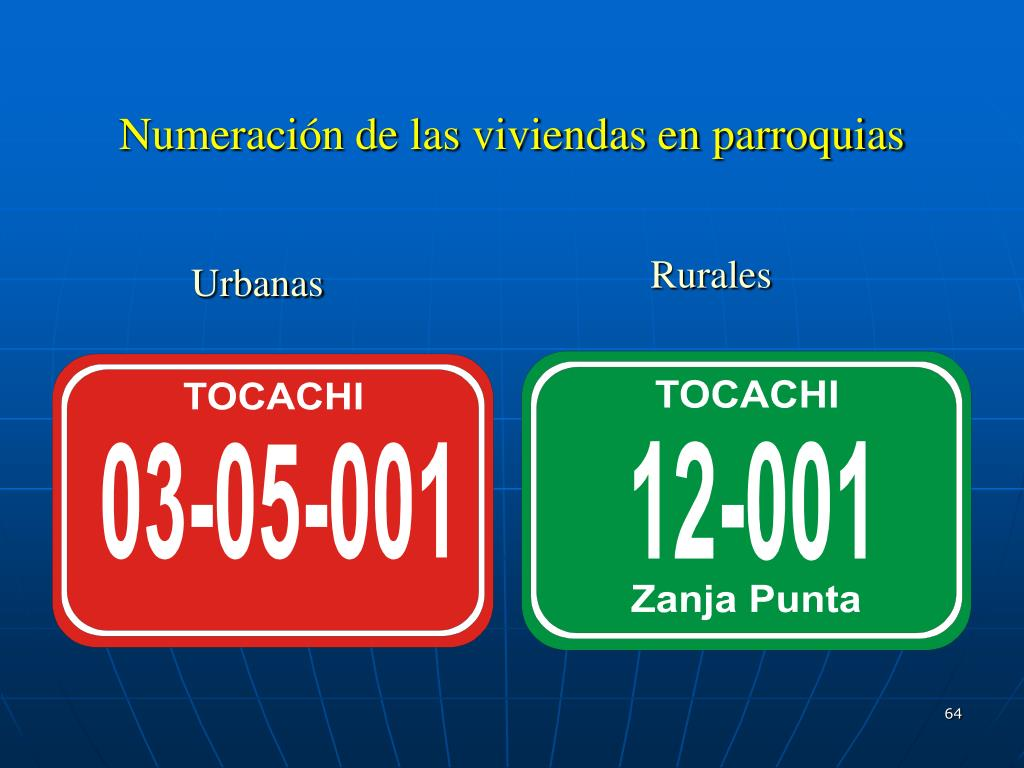 Numeración de las viviendas en parroquias