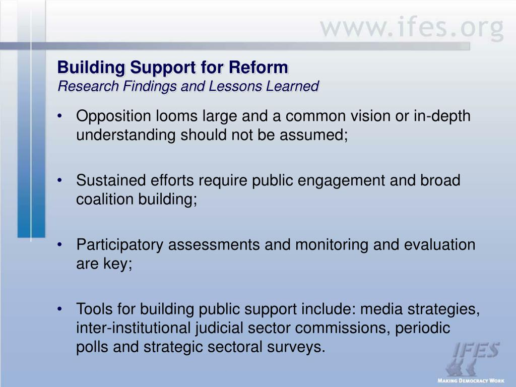 Building Support for Reform