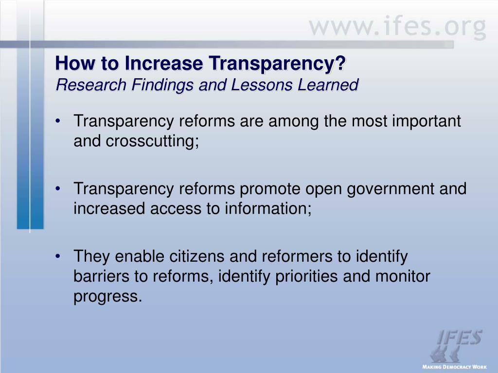 How to Increase Transparency?
