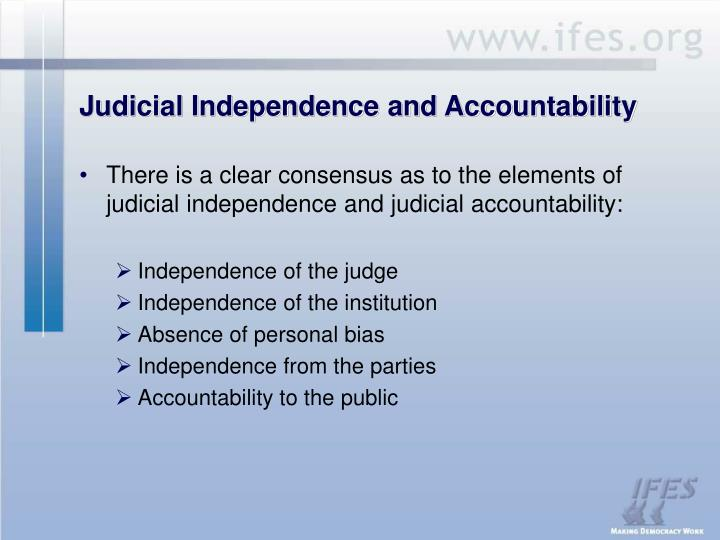 Judicial independence and accountability