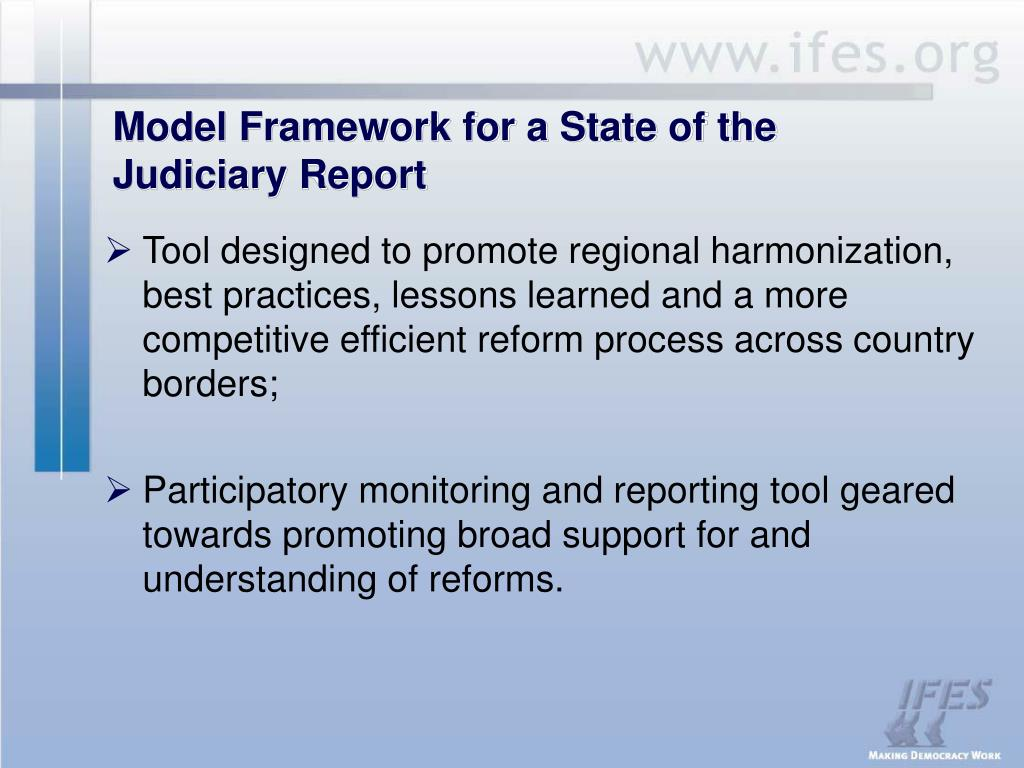 Model Framework for a State of the Judiciary Report