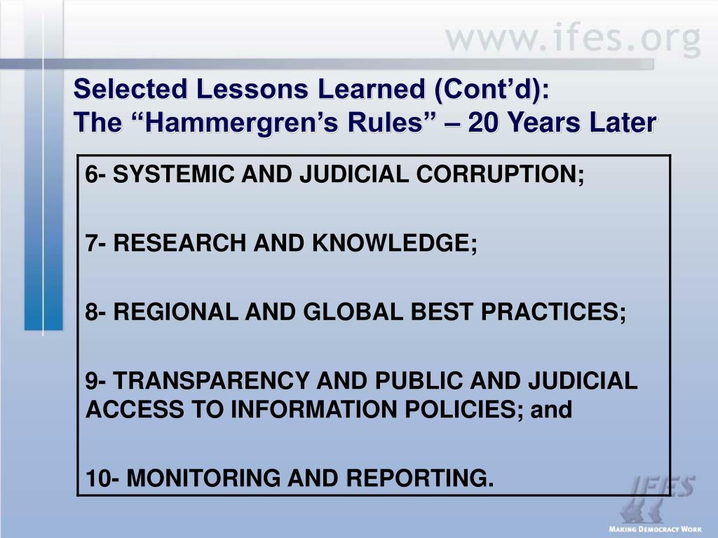 Selected Lessons Learned (Cont'd):