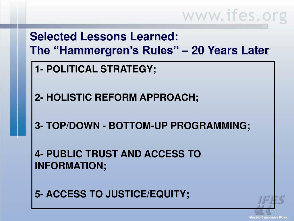 Selected Lessons Learned: