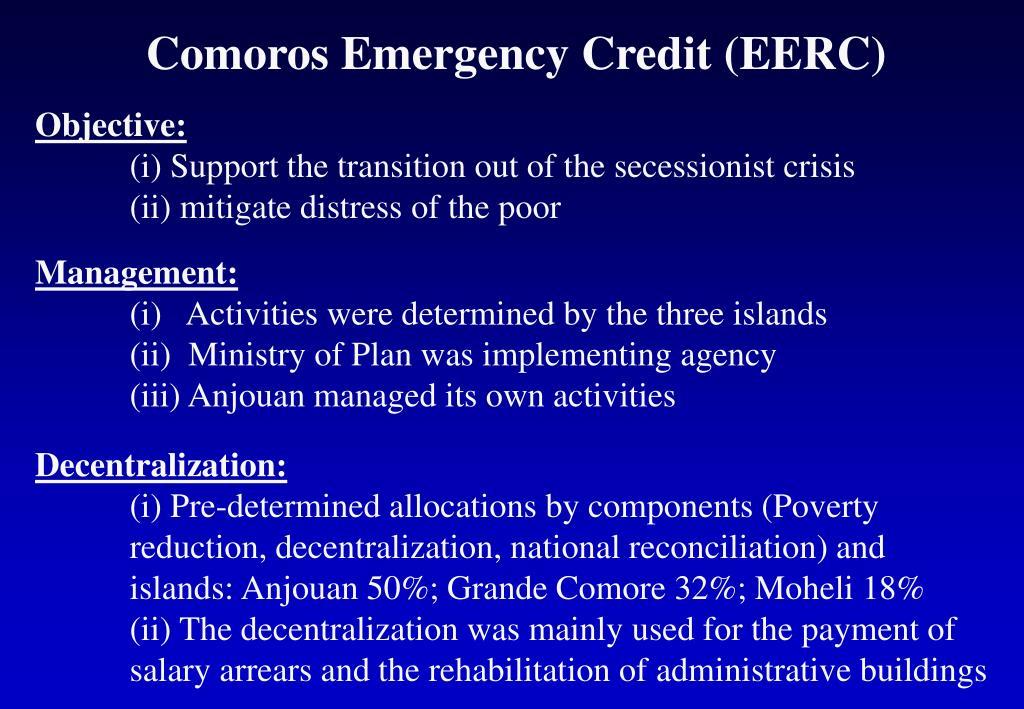 Comoros Emergency Credit (EERC)