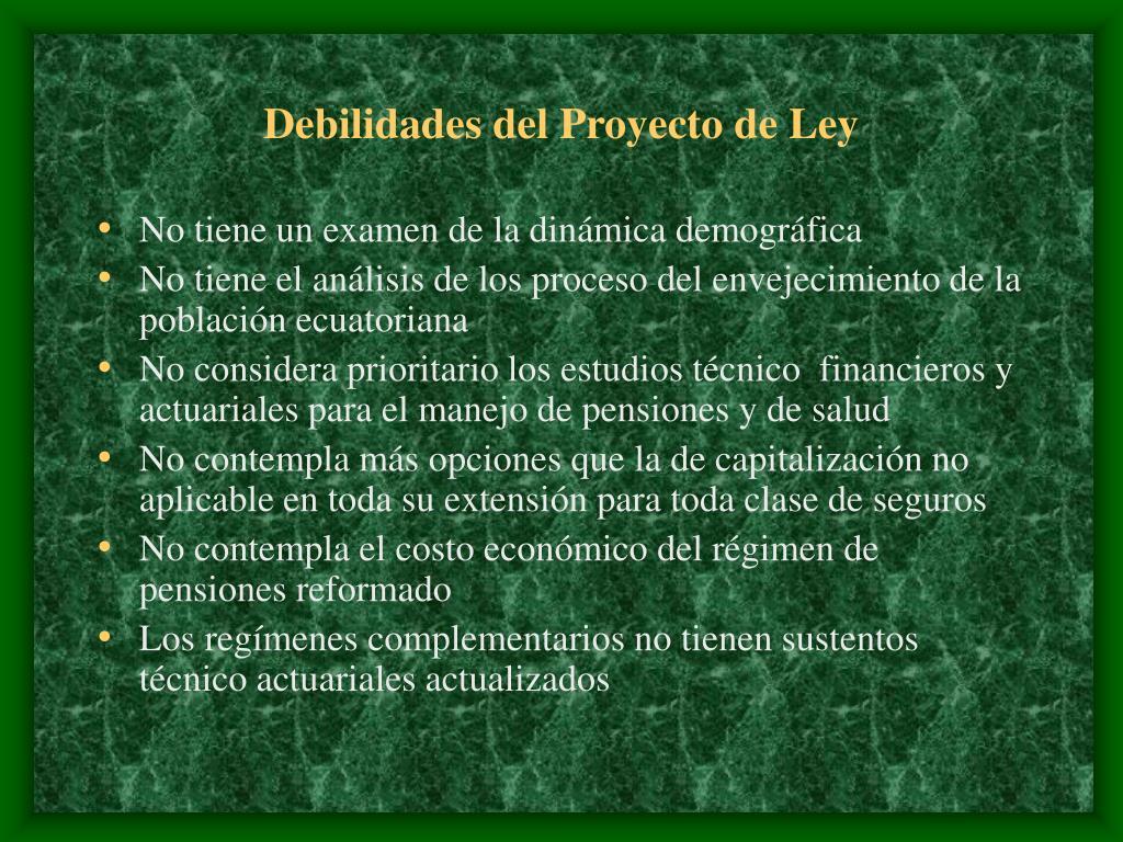 Debilidades del Proyecto de Ley