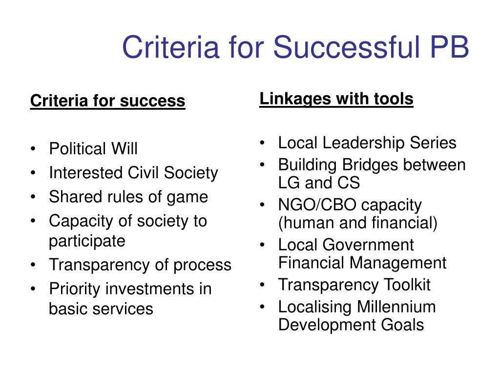 Criteria for success