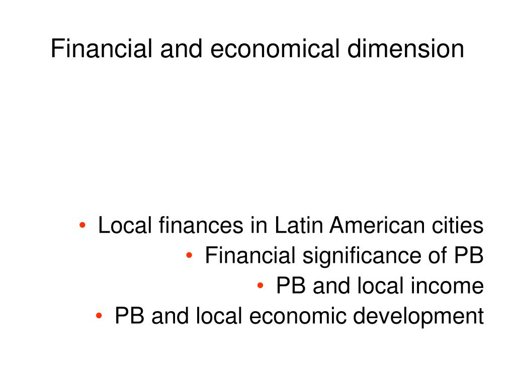 Financial and economical dimension