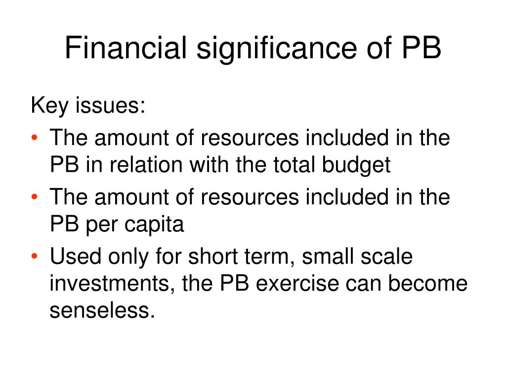 Financial significance of PB