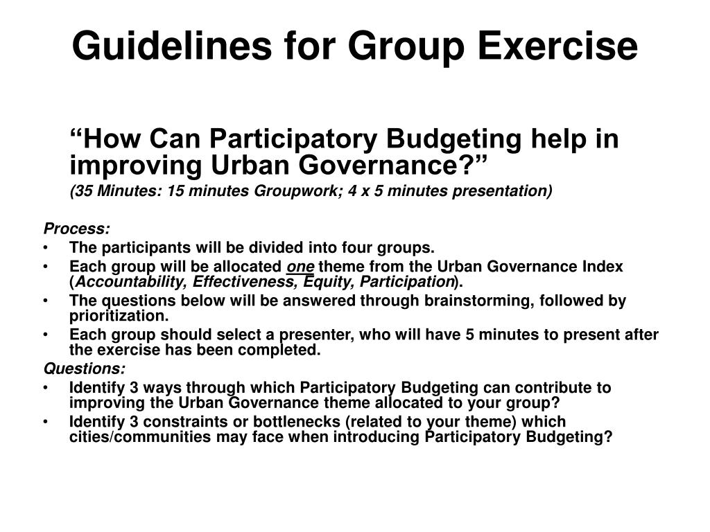 Guidelines for Group Exercise