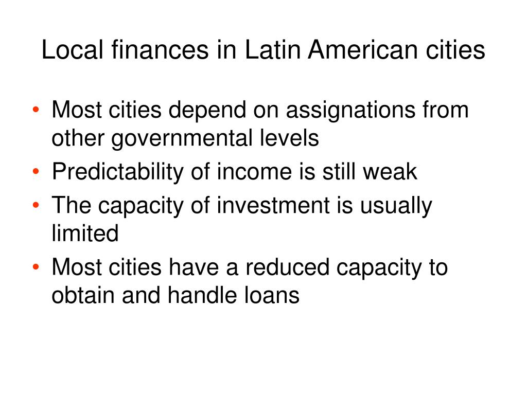 Local finances in Latin American cities