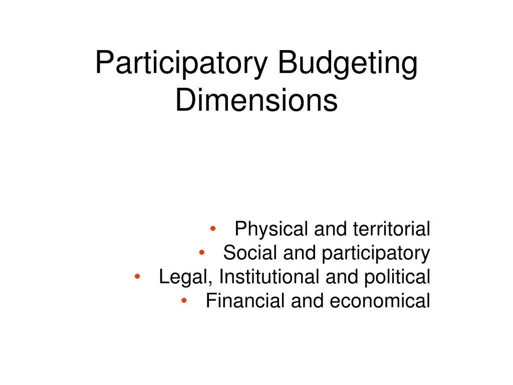 Participatory Budgeting Dimensions
