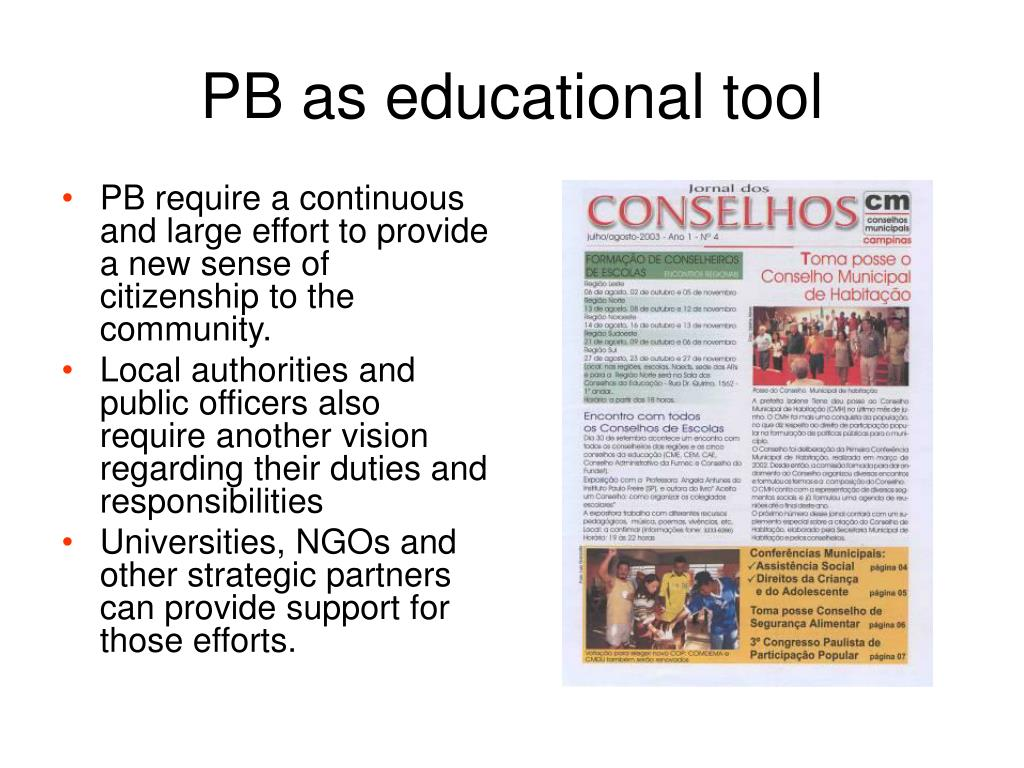 PB as educational tool
